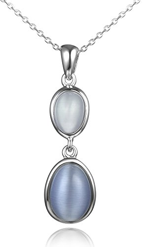 Lanfeny Simulated Cats Eye Sterling Silver Pendant Necklace Oval Bi-color Joker, 16.5+1.2