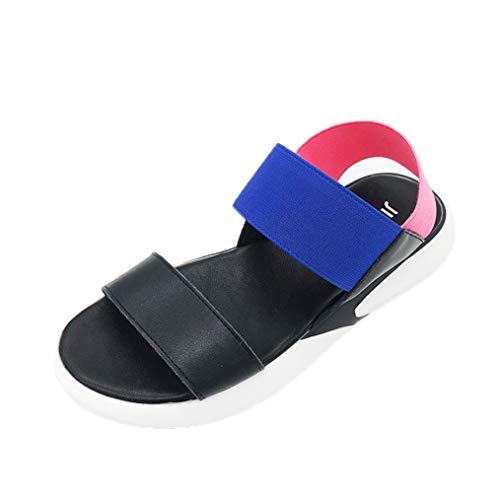 スポーツサンダル ゴムストラップ バイカラーサンダル フラット サンダル レディース 歩きやすい ヒール 厚底 布 フラット 靴 ブラック 大きいサイズ 25.0cm ホワイト 夏 ビーチサンダル 黒 白 シンプル
