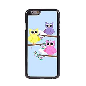 JAJAY Three Cute Owls Pattern Aluminum Hard Case for iPhone 6