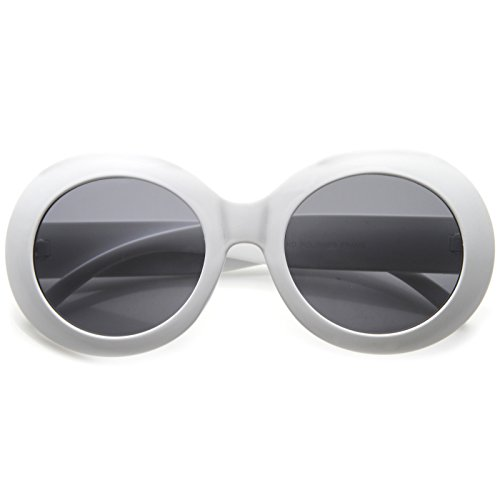 Oversized Oval Sunglasses (zeroUV - Oversize Chunky Frame Wide Temple Oval Round Sunglasses 55mm (White/Smoke))