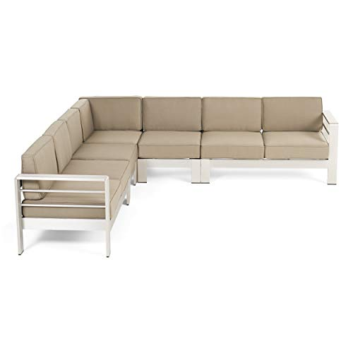 Great Deal Furniture Emily Coral Outdoor 7-Seater Aluminum Sectional Sofa Set, Silver and Khaki