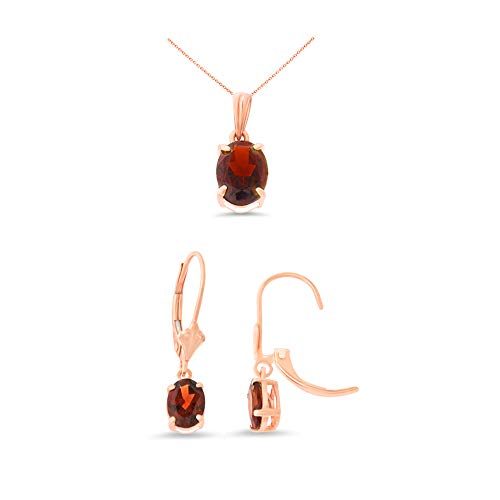 14K Rose Gold Oval Shaped Genuine Garnet Leverback Earrings + Pendant With Square Rolo Chain Necklace -