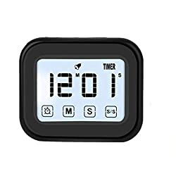 Kitchen Timer Digital Alarm Clock LCD Touchscreen Magnetic Backing Come with Night light 2 Modes Mute/Ring, Black (1)