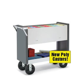 Charnstrom Long Solid Metal Cart with 8-Inch Poly Casters and Locking Top (B142Y) by Charnstrom