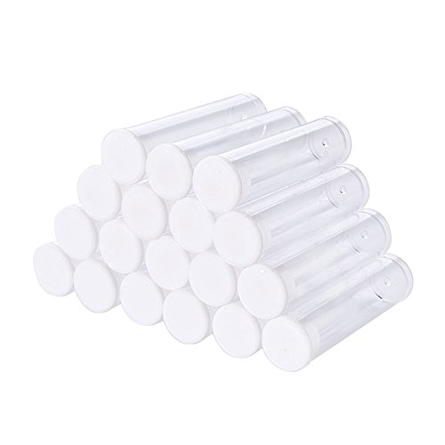(PH PandaHall 100 PCS Clear Plastic Tube Bead Containers Small Transparent Storage Bottles 55x15mm (Diameter 0.59