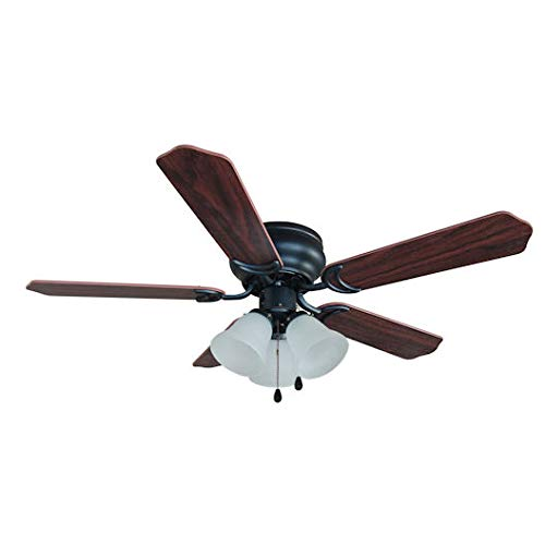 - Hardware House 17-5067 Oil Rubbed Bronze 42-Inch Flush Mount Ceiling Fan with Light Kit, Cherry or Walnut Blades