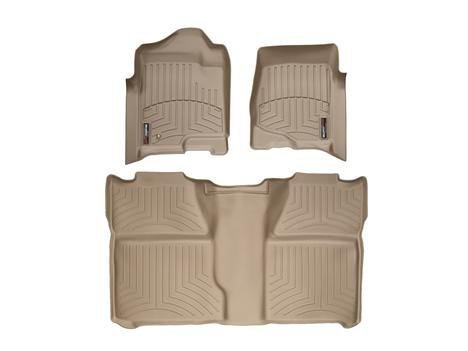 2014 Chevrolet Silverado Crew Cab 2500HD / 3500HD Tan WeatherTech Floor Liners (Full Set: 1st & 2nd Row) [For models without 4x4 Manual Floor Shifter]