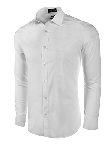 (Marquis Men's Slim Fit Dress Shirt - White, Large 16-16.5 Neck 34/35)
