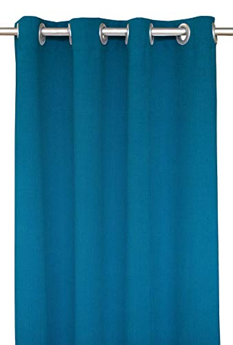 RSH Décor Indoor/Outdoor Brush Nickel Grommet Curtain Panel Made from Sunbrella Spectrum Peacock (50