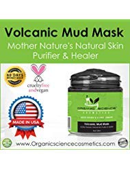 Organic & Natural Volcanic Mud Mask- DETOXIFYING, CLEANSING & OXYGENATING - Featuring Organic & 100% Natural Volcanic Ash, 2 Types of Activated Charcoal (Coconut & Bamboo) Acne, blackheads, oily skin