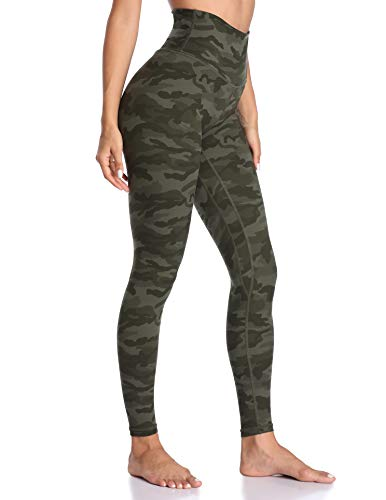 Colorfulkoala Women's High Waisted Pattern Leggings Full-Length Yoga Pants (M, Army Green Camo) (Black Leggings Flame)