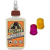 Gorilla Wood Glue, 4 oz. with 2 Rubber Finger Protecters