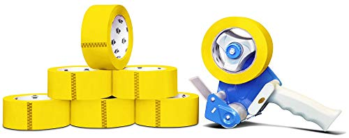 2.0 Mil Yellow Color Heavy Duty Carton Sealing Tape 55 Yard Length x 2 Inch Wide Office Supplies Packaging Tapes 36 Rolls + Free 2-Inch Dispenser