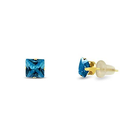 3x3mm Square Princess Cut Royal Blue Zircon CZ Solid 10K Yellow Gold 4-Prong Set Stud Earrings ()