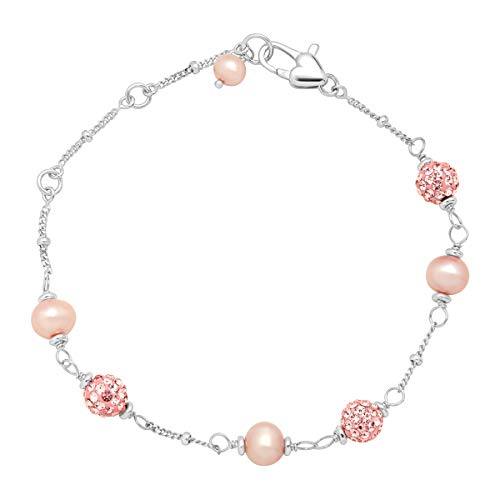 Girl's Pink Freshwater Cultured Pearl Bead Bracelet with Crystals in Sterling Silver ()