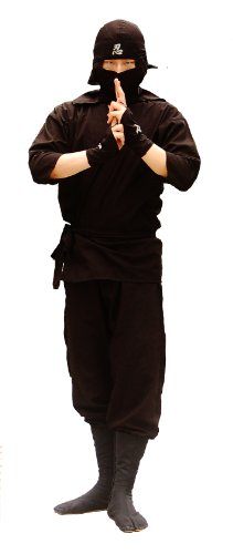Ninja Uniform & Martial Art Costume, Karate Suit Out Fit for Adults! Black! (XL (5.9 ft~6.1 ft))