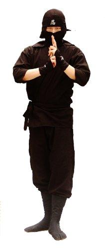 [Ninja Uniform/ Martial Art Costume for Adults!! M: (5'1~5'5ft)] (Black Martial Arts Costume)