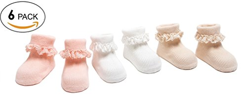 LUXEHOME (YR1702) 6-pack Baby Girls Cotton Eyelet Frilly Lace Socks with Anti-Slip Grip (Small) (Name Eyelet White)