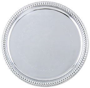 Chrome Round Chafer - Cater Tray, Round, 14'', Without Handles, High Rimmed, Plain Trim, Stainless Steel (12 Pieces/Unit)