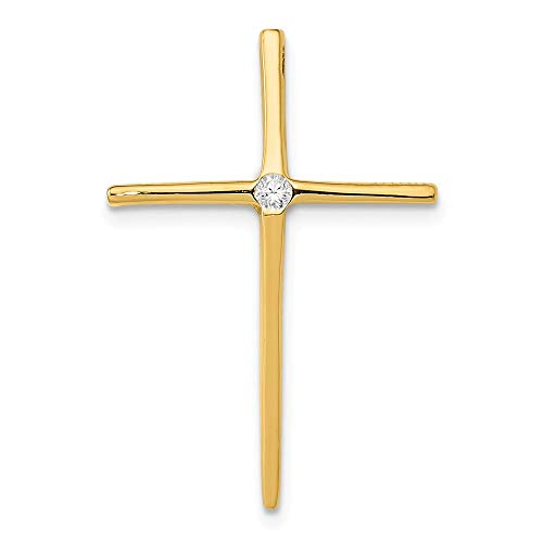 Slide Diamond Pendant Jewelry - 14K Yellow Gold Diamond Passion Cross Slide Pendant from Roy Rose Jewelry