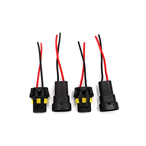 9006 Headlight Wire Harness - UTSAUTO 2Set 9005 9006 H10 Wire Connectors Female & Male Adapter Wiring Harness Sockets Wire 12V for LED Headlights Fog Lights