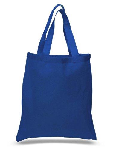 Set of 6 Blank Cotton Tote Bags Reusable 100% Cotton Reusable Tote Bags, Royal