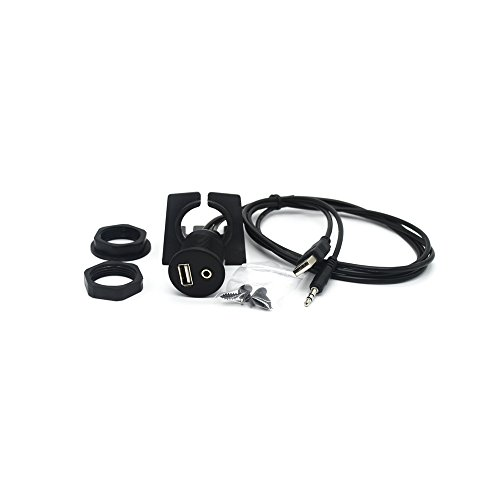 USB & 3.5mm Dash Flush Mount Cable - Riipoo 3 ft 1 Meter USB