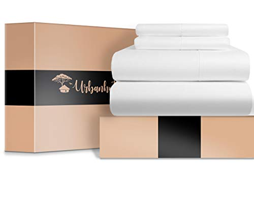 URBANHUT Egyptian Cotton Sheets Set - 700 Thread Count 100% Cotton Bed Sheets Queen (4 Piece), Luxury Queen Size Sheets, Deep Pocket, Soft & Silky Sateen Weave (White) ()
