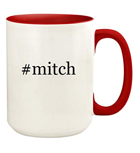 (#mitch - 15oz Hashtag Ceramic Colored Handle and Inside Coffee Mug Cup, Red)