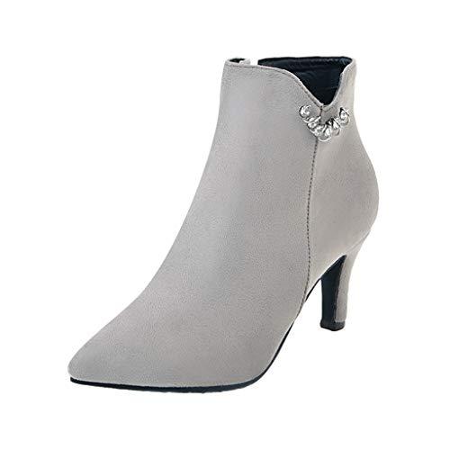 Italian Style Stiletto - Cenglings Women's Flock Stiletto Heel Boots Side Zipper Pointed Toe Pumps Slip On Shoes Rhinestone Low Heel Ankle Boot
