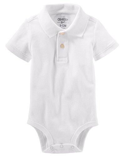 OshKosh B'Gosh Baby Boys' Piqué Polo Bodysuit (18-24 Months, White)
