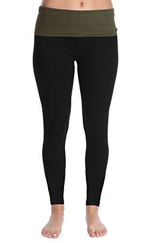 (Nouveau Women's Active Full Length Yoga Pant with Contrasting Color Waistband - Olive Green,)
