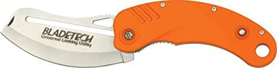 Blade Tech Knives 17PEOR Folding ULU (Universal Locking Utility) Knife with Aluminum Handles with Orange Non-Slip Rubber Coating