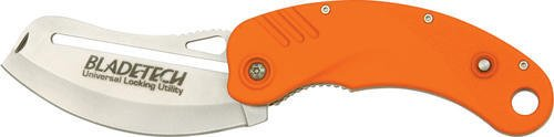 PEOR Folding ULU (Universal Locking Utility) Knife with Aluminum Handles with Orange Non-Slip Rubber Coating ()