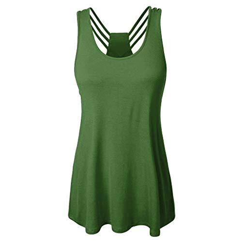 - LYN Star ♪ Women's Short Sleeve Scoop Neck T Shirt Casual Tops Solid Sleeveless Tunic for Leggings Swing Flare Tank Tops Green