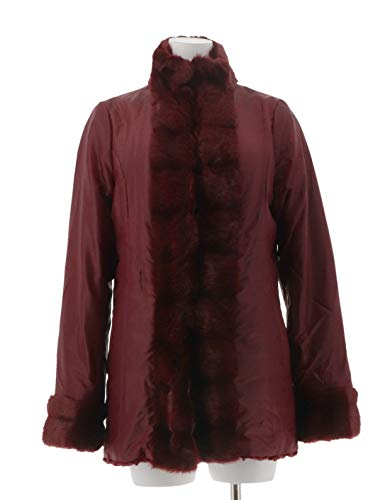 Dennis Basso Reversible Stand Collar Tuxedo Front Jacket Wine XS New A258059 from Dennis Basso
