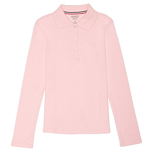 French Long Sleeve Shirt (French Toast Big Girls' Long Sleeve Interlock Polo With Picot Collar, Pink, Large/10/12)
