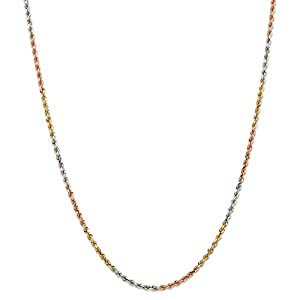 14K Tri Color Gold 2.9mm Diamond Cut Rope Chain 16 IN