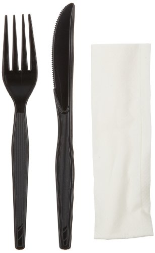 Dixie CH54NC7 Heavy Weight Polystyrene Wrapped Fork, Knife and Napkin Cutlery Kit, Black (Case of 500) by Georgia-Pacific