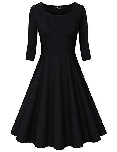(Ckuvysq Womens 3/4 Sleeve Retro 1950s Cocktail Dresses Vintage Swing Dress Black XX-Large)
