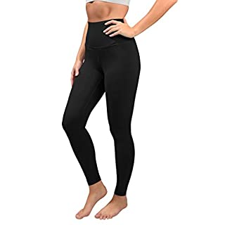 90 Degree By Reflex Cotton Super High Waist Ankle Length Compression Leggings with Elastic Free Waistband - Black - XL
