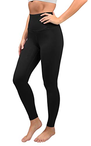 90 Degree By Reflex Cotton Super High Waist Ankle Length Compression Leggings with Elastic Free Waistband - Black - Large