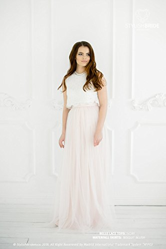 Belle in Biscuit Blush Lace Dress, Bridesmaids Long Blush Waterfall Skirt, Blush Ivory Engagement Prom Dresses Plus Size