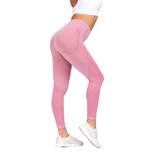 Women Seamless Stretch Yoga Pants Squat Proof Workout Leggings Butt Lifting Gym Fitness Sport Capri (S,Pink)