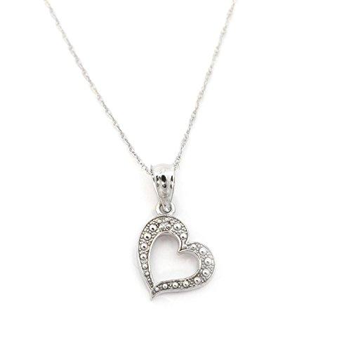 14k White Gold .01ct Diamond Heart Pendant Necklace - pendant (Diamond Dress Shirt)