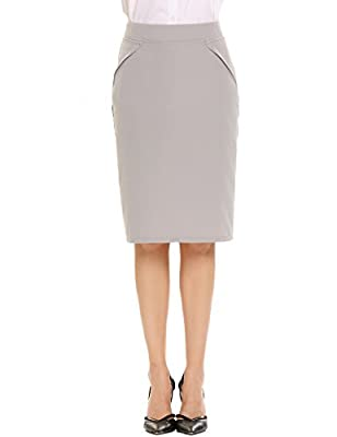 Women's Office Pencil Skirt Knee Length Straight Skirt