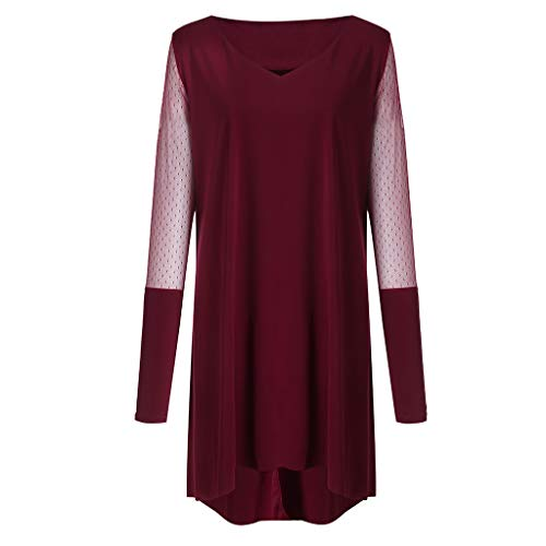 Plus Size Women Long Sleeve Baggy Midi Dress Ladies Party V Neck Lace Tunic Dress Top 2XL-6XL (Wine Red, XXXXXL) by Unknown (Image #6)