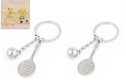2 Pack Tennis Keychains, HityTech 3D Tennis Ball Racket Keychain Metal Olympic Games Key Ring Sports Games Gift ... (3d Tennis Racket)