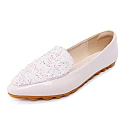 Rhinestone Pointed Toe Sequins Glitter Loafers
