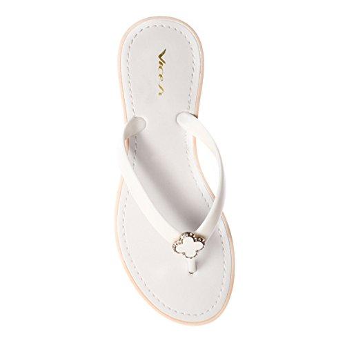 Schuhzoo - Damensandalen Zehentrenner Badeschuhe Größe 36 37 38 39 40 41 Weiß